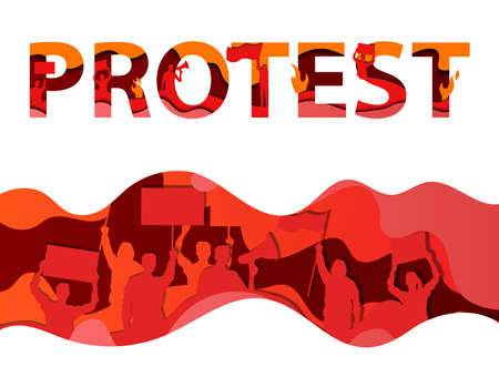 Protest, Meeting, Riot, Activism, Patriotism, Politic Revolution Concept. Protest Lettering, Wave In Red And Orange Shades With Crowd Silhouette With Flags And Banners. Flat Style Vector Illustration