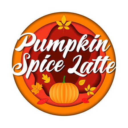 Popular Warming Drinks, Pumpkin Spice Latte Concept. Big Round Isolated Red And Orange Logo With Lettering, Pumpkin And Autumn Leaves On White Background. Colorful Vector Illustration In Flat Style Imagens - 154503363