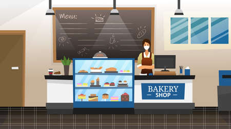 Bakery Shop Concept. Female Seller In Protecting Medical Mask Behind The Counter Selling Bread, Pastries, Buns, Cookies, Pretzels, Desserts And Cakes At Bakery Shop. Vector Illustration In Flat Style