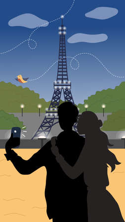 Summer Holidays Or Vacation In Paris Concept. Young Couple Spend Time In Paris. Male And Female Characters Making A Selfie. Silhouettes On Eiffel Tower Background. Vector Illustration In Flat Style