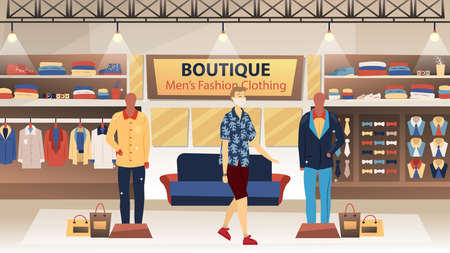 Men s Fashion Clothing Boutique Concept. Young Male Character With Protecting Mask On The Face Looking For Some New Stylish Clothes In Fashion Clothing Boutique. Vector Illustration In Flat Style