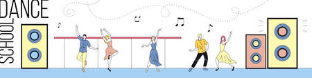 Linear Vector Illustration With Outline, Collection Of Pairs Dancing. Dance School Concept Cartoon Style Composition. Male And Female People Performing Dance At Studio With Speakers, Text And Notes Vettoriali