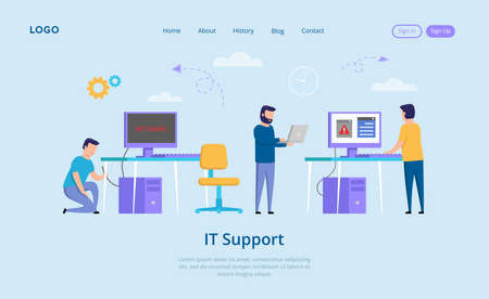IT Support Concept. No Signal Message On The Screen, Annoyed People And Unplugged Computer. IT Support Repairer Helps To Solve The Problems With Internet Connection. Vector Illustration In Flat Style