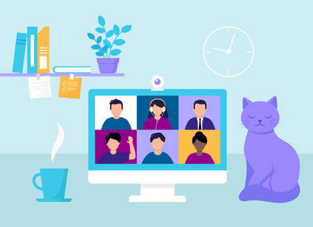 Quarantine Desktop With Computer Screen. Video Conference For Online Meeting, Study And Work. Vector Illustration Of Remote Social Activities. Cartoon People, Flat Style Items. Table With Monitor