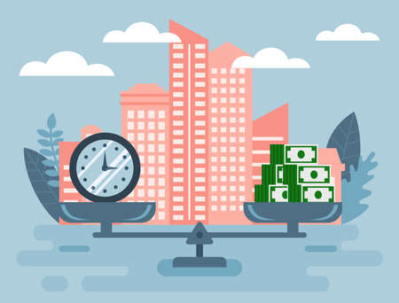 Business, Finance, Apartment Loan Concept. Abstract Composition With Clock And Stacks Of Money On Scales On Pale Blue And Peach Color Background. Time Is Money. Colorful Flat Style Vector Illustration