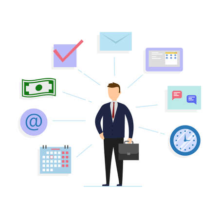 Office Management, Human Resources, Business Concept. Cartoon Businessman In The Middle Surrounded By E-mail, Money, Message, Calendar And Other Office Stuff Icons. Flat Style Vector Illustration