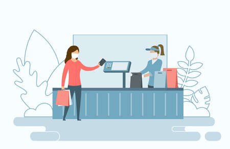 Safe Shopping In Public Places Concept. Female Buyer In Protective Mask Pays With Credit Card. The Cashier Or Seller Puts The Purchases Into Shopping Bags. Vector Illustration In Cartoon Flat Style