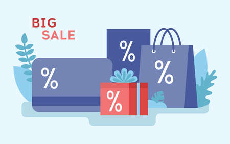Big, Mega, Super Sale And Money Saving Concept. Big Discount Card, Limited Time Only, Start Now, Hurry Up, Shopping Bags, Credit Card, Various Shopping Stuff. Cartoon Flat Style. Vector Illustration