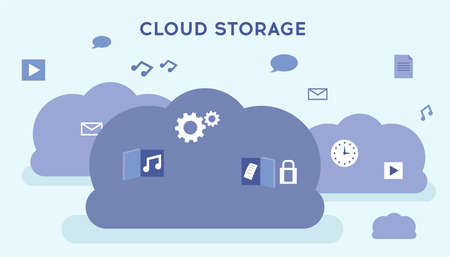 Cloud Storage Technology, Cloud Computing, Network Cloud Service Concept. Huge Pale Violet Clouds With Media Icons And Symbols On White Background. Simple Cartoon Vector Illustration In Flat Style
