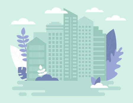 Construction, Building And Sale Real Estate, Property Concept. Residential Complex , Skyscrapers In Big City. Composotion In Pale Green And Violet Colors. Cartoon Vector Illustration In Flat Style Ilustração