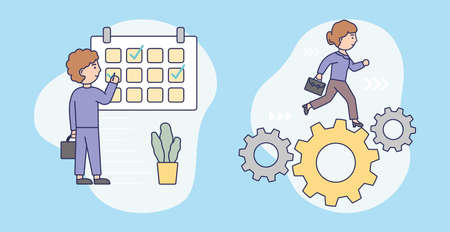 Scheduling, Time Management Concept. Male Character In A Business Suit Sets Priority Tasks, Makes Check Marks On The Calendar. Woman With Briefcase Hurries Up. Cartoon Flat Style Vector Illustration Vettoriali