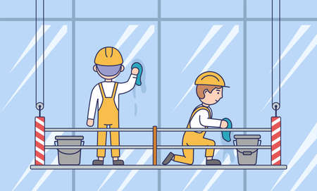 Building, Cleaning And Washing Team Concept. Male Characters In Helmets And Overalls Making The Windows Of The Skyscrapers Shine Using A Suspended Platform. Cartoon Flat Style Vector Illustration Ilustração