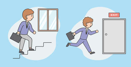 Busy, Overworked Concept. Office Worker In A Hurry. Male Character In A Business Suit Carrying A Briefcase Running Fast To Exit After Hard Working Day In Office. Cartoon Flat Style Vector Illustration