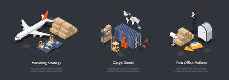 Airlines Marketing Strategy, Cargo Goods Transportation, Post Office Mailbox Rent Concept. Innovate Marketing Strategy For Airlines, Cargo Shipping And Delivery. 3d Isometric Vector Illustration Set Ilustracje wektorowe