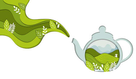 Healthy Herbal And Green Tea Concept. Transprent Teapot Or Kettle With Tiny Green Leaves Collected On Tea Plantation Releasing Aroma Steam. Flat Style Vector Illustration Isolated On Whte Background