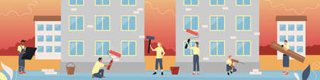 Building Team Service Concept. Group Of Characters In Uniform Painting The Facade Of Buldings, Doing Finishing Work. Building Team In Working Process. Colorful Linear Flat Style Vector Illustration