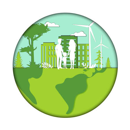 Green City Development, Renewable Energy Concept. Family Lives In Modern Green City. Green Energy Sources Include Wind, Geo-thermal, Hydro, Solar Energy. Isolated Logo, Flat Style Vector Illustration