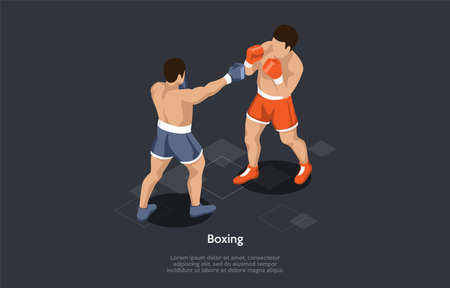 Boxing, Combat Sport Concept. Two Men Boxing Wearing Protective Gloves, Throwing Punches At Each Other For A Predetermined Amount Of Time In A Boxing Ring. Colorful 3d Isometric Vector Illustration 矢量图像