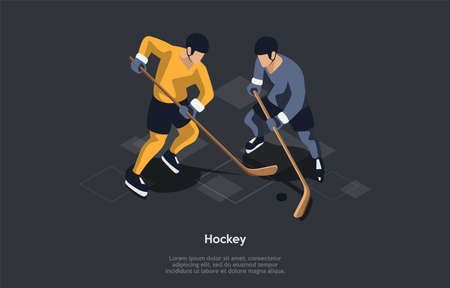 Hockey, Sport Concept. Two Male Characters Playing Hockey Against Each Other By Trying To Manoeuvre A Ball Or A Puck Into The Opponent s Goal Using Hockey Sticks. 3d Isometric Vector Illustration