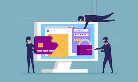 Fraud And Scammers Concept. Cartoon Scammers In Masks Use All Kinds Of Sneaky Approaches To Steal Your Personal Details To Use Your Credit Card Or Open A Bank Account. Flat Style Vector Illustration