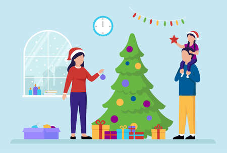 New Year Holiday Celebration Concept. Family Preparing For A New Year Celebration. Mother Decorating The Christmas Tree. Girl Sits On Father s Shoulders Holding A Star. Flat Style Vector Illustration