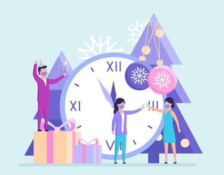 Winter Holidays, New Year, Christmas Concept. Tiny Cartoon Characters Celebrating New Year Holding Sparkler And Clinking Glasses With Champagne. Five Minutes To Twelve. Flat Style Vector Illustration