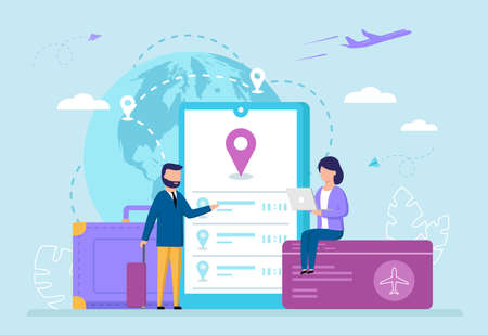 International Airlines, Flight Booking, Air Travels Concept. Male And Female Characters Choosing And Booking Online Flight Tickets At Lowest Airfare. Cute Cartoon Vector Illustration In Flat Style