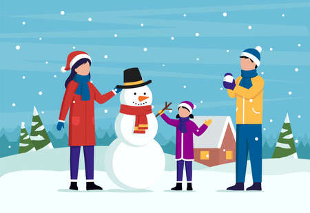 Family Winter Outdoor Pastime Concept. Male And Female Characters In Winter Clothes Together With A Child Molding A Snowman In A Hat With Scarf. Colorful Cartoon Vector Illustration In Flat Style
