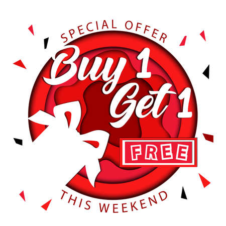 Sale With Gifts, Buy One And Get One For Free, Special Offer This Weekend Only Concept. Don t Miss Your Gift Paper Cut Design Red Isolated On White Background. Vector Illustration In Flat Style