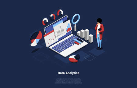 Isometric Composition Of Laptop With Charts And Schemes. Data Analytics Concept Art With Big Computer And Cartoon Male Character In Working Process. 3D Vector Illustration With Lorem Ipsum Writing