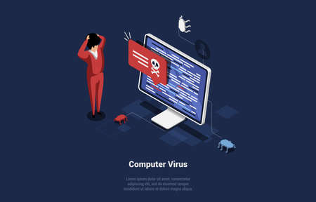 Concept Vector Illustration Of Computer Virus Alert. Cartoon Isometric Male Character Shocked Near PC Screen With Writings And Small Technological Beetles Crawling. 3D Art On Dark Blue Background