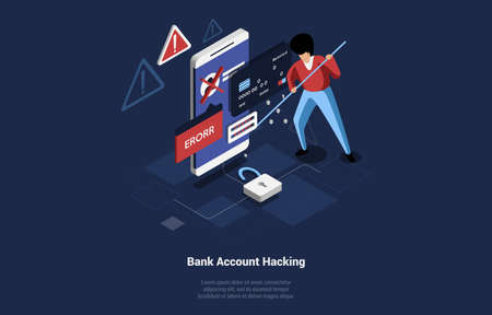 Bank Account Hacking Concept Vector Composition. Isometric 3d Art Of Big Smartphone With Error Alert Writings On Screen And Man Thief Trying To Cyber Steal From It. Modern Crime Cartoon Illustration