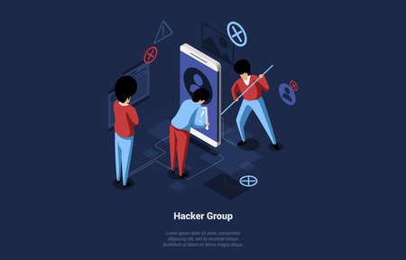 Vector Cartoon Illustration With Hacker Group Of Three Male Characters In Working Process. 3D Isometric Composition On Dark Background With Writing. Big Smartphone And Small Infographic Objects Around 向量圖像