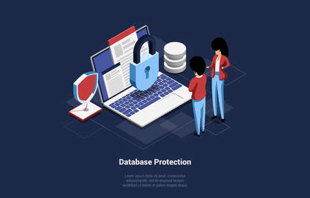 Database Protection Vector 3d Illustration. Isometric Cartoon Composition Of Big Laptop With Lock, Male And Female Characters Standing Near. Infographic Sign, Lock And Mail Object. Lorem Ipsum Writing