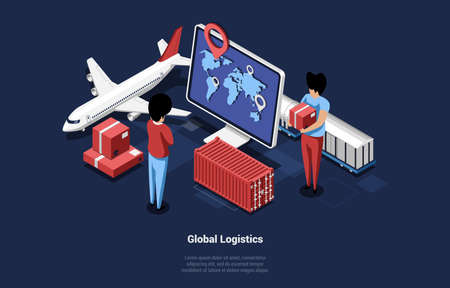 Vector Illustration Of Laptop Screen With World Map And Navigator. Global Logistics Concept 3D Isometric Composition. Two Cartoon Male Characters Delivering Boxes. Other Supply Items And Plane Near