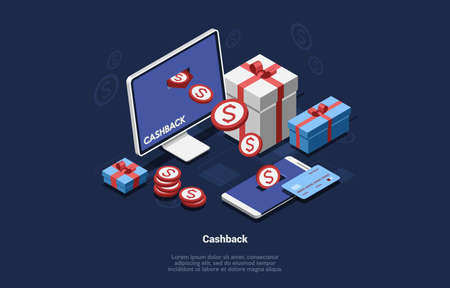 3D Isometric Composition Of Money Coins Getting From Computer Screen To Mobile Phone. Gifts Boxes Standing Around. Cashback Vector Cartoon Illustration With Writing And Dollar Signs On Dark Background