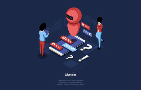 Cartoon Style 3d Vector Composition With Writing. Isometric Illustration Of Chatbot Concept With Modern Appliance For Solving Problems. Big Smartphone With Robot And Two Characters Chatting With It 矢量图像