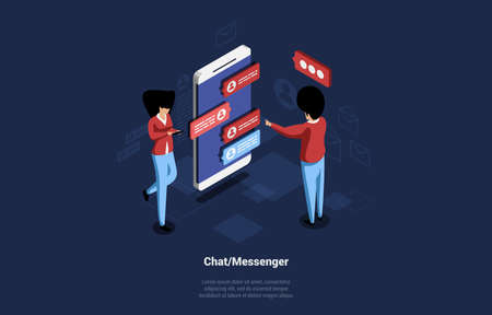 Modern Chat Or Messenger Cartoon Isometric Illustration. 3D Vector Composition On Dark Background With Two Characters. Man And Woman Communicating With Each Other Through Smartphone Using Text Bubbles