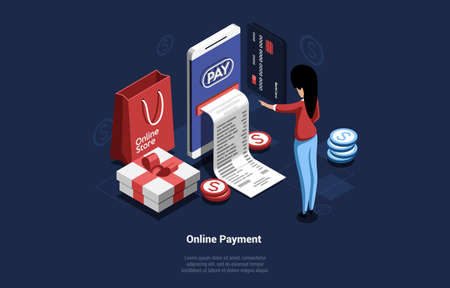 Online Payment Concept Vector Composition In 3D Isometric Style. Cartoon Illustration Of Big Smartphone Printing Check For Woman Standing Near It. Internet Store And Money Paying. Box, Coins Around 向量圖像