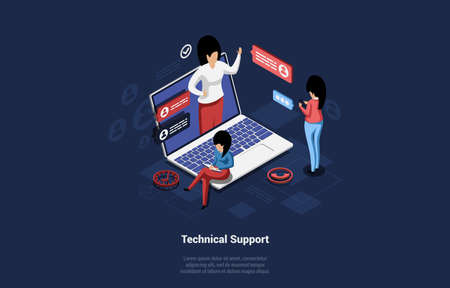 3D Vector Illustration With Group Of People Communicating. Technical Support Concept With Writing On Dark Background. Isometric Cartoon Women Have Remote Videocall Or Chat With Helper To Solve Problem