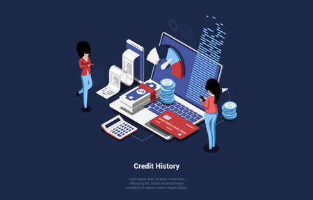 Vector Illustration Of Isometric Credit History Concept. 3D People Analysing, Calculating And Checking It. Two Female Characters With Smartphones Near Big Laptop And Different Money Related Items Ilustração