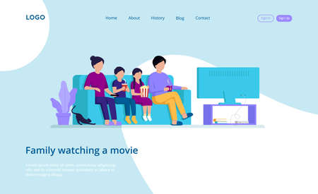 Illustration In Cartoon Style With Vector Male And Female Flat Characters. Webpage Template Composition Of Four Family Members Sitting On Couch Watching Movie On TV-set. Modern Cosy Design Elements