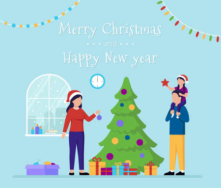 Vector Illustration Of Merry Christmas And Happy New Year Concept With Writing. Postcard Template Style Composition With Flat Cartoon Characters. Family Celebrating Fest Near Big Pine Wearing Red Hats Vector Illustration