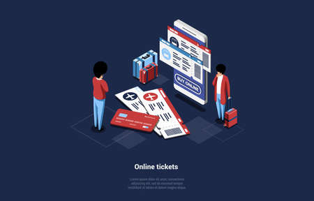Two Male Characters Near Big Smartphone With Online Ticket Booking Service On Screen. 3D Vector Composition In Cartoon Isometric Style On Dark Background. Internet Buying Through Credit Card Concept