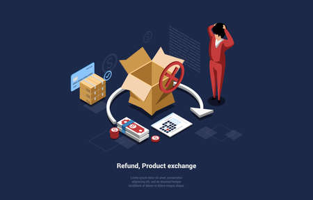 Refund, Product Exchange Conceptual Vector Composition On Dark Background. 3D Illustration In Cartoon Isometric Style Of Shocked Man Standing Near Big Empty Cardboard Box, Arrow Pointing Money Return Vetores