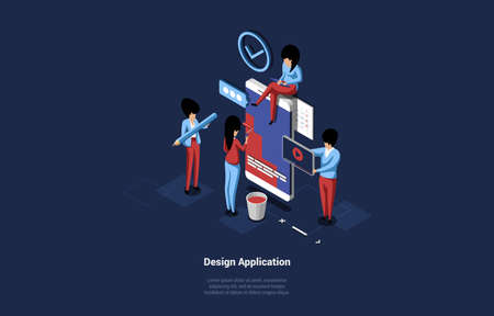 Group Of Business People Designing Application, Small Characters Standing Near Huge Smartphone And Working. 3D Vector Composition In Cartoon Isometric Style Of Mobile Development Concept With Writings Ilustración de vector