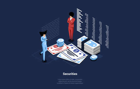 Business Vector Illustration On Money Securities Concept. 3D Composition In Cartoon Isometric Style Of Male And Female Characters Standing Near Big Money Banknotes And Coins, Infographics Near Them