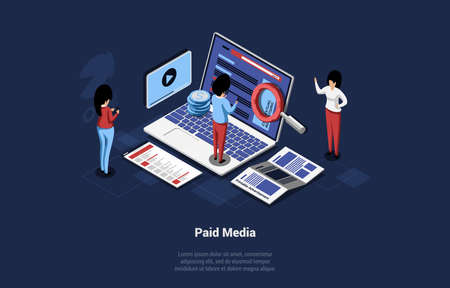 Isometric Illustration In Cartoon 3D Style. Vector Composition On Paid Media Concept, Contextual Target Advertising On Internet Webpages, Websites, Applications. Business People Working Near Laptop