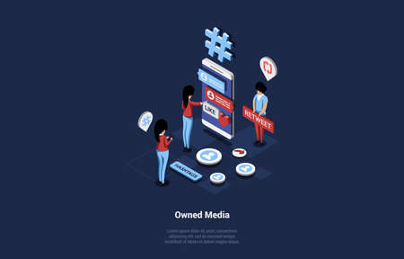 Isometric Businessmen Working On Owned Media Through Big Smartphone With Interface On Screen. Vector Illustration In Cartoon 3D Style Of Advertising, Online Publicity And Internet Branding Concept