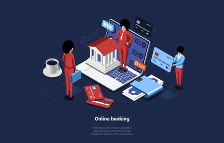 Isometric Vector Composition Of Online Banking Concept. Cartoon 3D Illustration Of Office Style Male And Female Business Characters Holding Money Related Items. Huge Laptop With Infographics On Screen Ilustração
